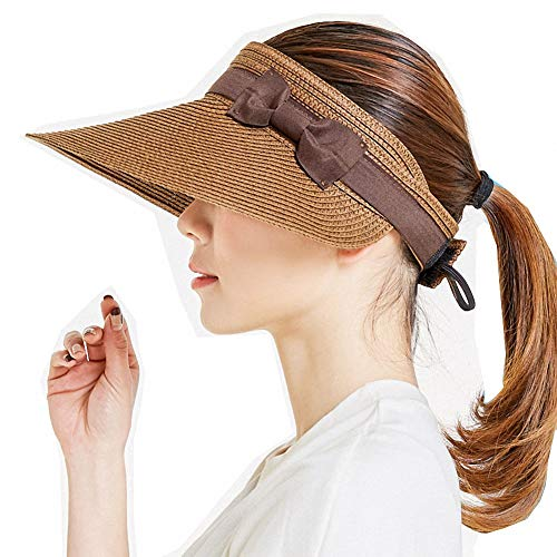 (Women's Summer Foldable Straw Sun Visor w/Cute Bowtie UPF 50+ Packable Wide Brim Roll-Up Visor Beach Hat)