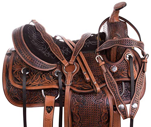 AceRugs 14 15 16 17 Antique Oil Western Pleasure Barrel Racing Trail Hand Carved Leather Horse Saddle TACK Package (14)