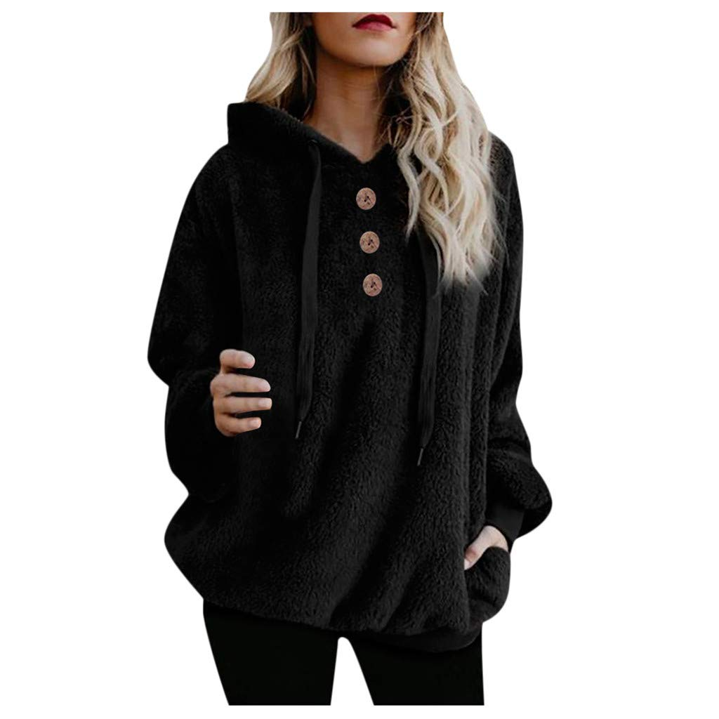 Shusuen Winter 2019 Fashion Womens Fuzzy Casual Loose Sweatshirt Hooded with Pockets Outwear by Shusuen