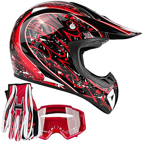Typhoon ATV MX Helmet Goggles Gloves Gear Combo Red Splatter (Medium)