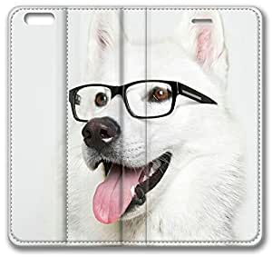 """Glasses Dog iPhone 6 Case, Apple iPhone 6 (4.7"""" inch) Case, iPhone 6 Slim Fit Skin Leather Case Cover"""