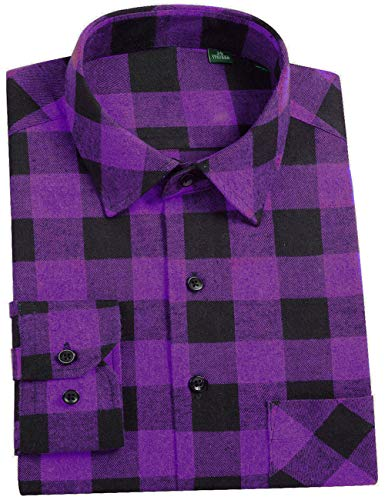 DOKKIA Men's Dress Slim Fit Buffalo Plaid Checkered Long Sleeve Flannel Shirts (Purple Buffalo Plaid, ()