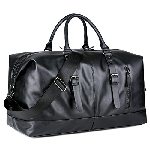 BAOSHA Canvas PU Leather Travel Tote Duffel Bag Carry on Bag