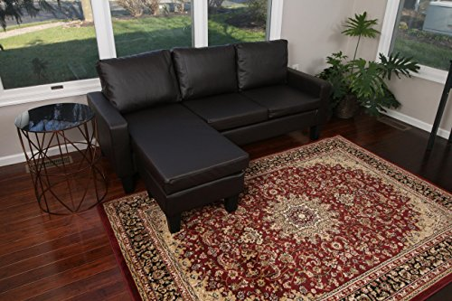 Large Espresso Brown Leather Modern Contemporary Upholstered Quality Left or Right Adjustable Sectional