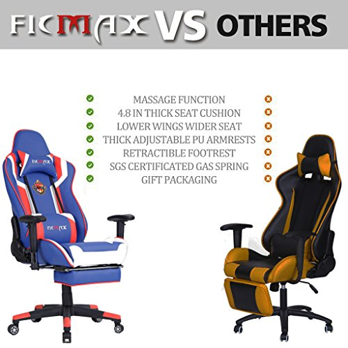 Ficmax Ergonomic Computer Racing Chair Leather Swivel