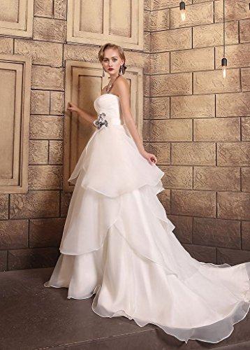 2016 Dresses Long Wedding Organza Floral with BessWedding Gowns Wedding White Sash RBwqtc6f