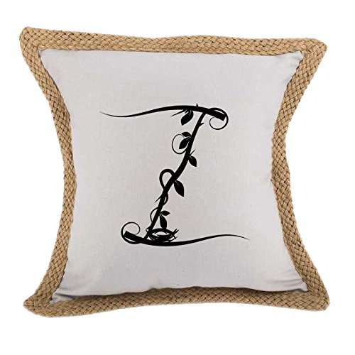''Z'' Wood Branch Initial Monogram Letter Z Bed Home Decor Faux Linen Pillow Cover Gray