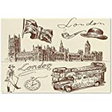 Large Wall Mural Sticker [ London,Sketch of National British Emblems Big Ben Houses of Parliament Bus Flag,Dark Brown and Cream ] Self-adhesive Vinyl Wallpaper / Removable Modern Decorating Wall Art