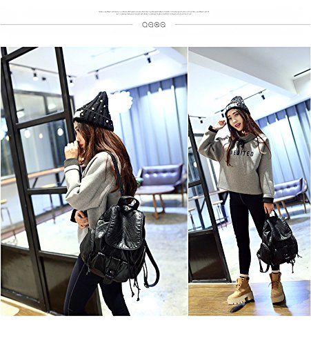 Backpack Leatherette Black Black Bag Women Snow dnwUHxd8