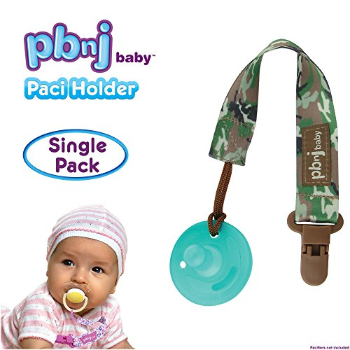 PBnJ baby Pacifier Clip Holder Strap Leash Tether for Boys and Girls with Safe Plastic Clip (Green Camo - Single)