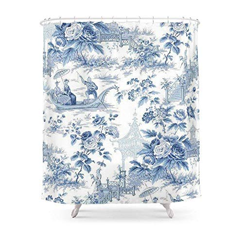 (Breezming Powder Blue Chinoiserie Toile Shower Curtain 60