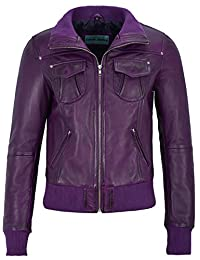 'FUSION' Ladies Purple WASHED Short Bomber Biker Motorcycle Style Leather Jacket