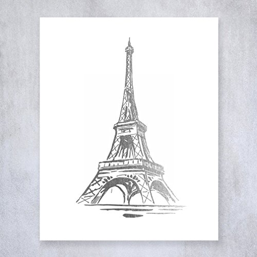 Eiffel Tower Silver Foil Print Wall Art Poster Paris Home Decor France Poster French Art Metallic 8 inches x 10 inches B19