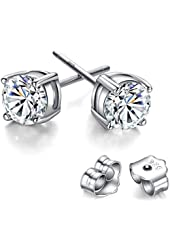 Freeman Jewels Sterling Silver Rhodium Plated Round Cut Cubic Zirconia Stud Earrings for Girls