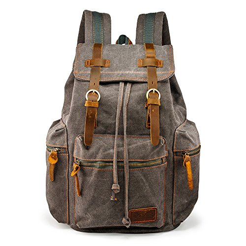 (GEARONIC TM 21L Vintage Canvas Backpack for Men Leather Rucksack Knapsack 15 inch Laptop Tote Satchel School Military Army Shoulder Rucksack Hiking Bag Gray)