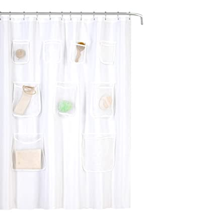 GoodGram Water Resistant Fabric Shower Curtain Liner With Pockets