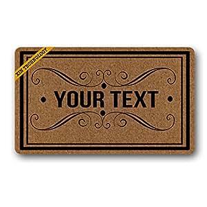 """Artsbaba Doormat Personalized Your Text Door Mat Frame Design Monogram Text Doormats Monogram Non-Slip Doormat Non-woven Fabric Floor Mat Indoor Entrance Rug Decor Mat 30"""" x 18"""""""
