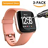 QIBOX Fitbit Versa Screen Protector, 3 Pack Tempered Glass Screen Protector for Fitbit Versa Smart Fitness Watch Tracker, Ultra Clear Scratch Resistant Anti-Bubble