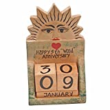 JustPaperRoses 5th Wedding Anniversary Gift Wood Calendar