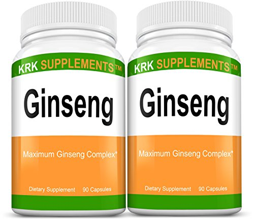 Cheap 2 Bottles Ginseng 1000mg Per Serving Panax Ginseng Eleutherococcus Senticosus Extract Korean Ginseng 180 Total Capsules KRK Supplements