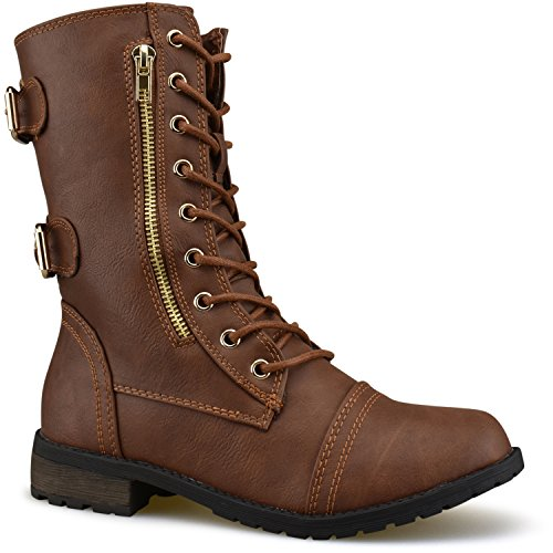 Premier Standard - Miranda-01 Women's Military Ankle Lace up Buckle Combat Boots Mid Knee High Exclusive Booties, TPS 17Ognam Tan Pu Size 7 - Sole Combat Boots