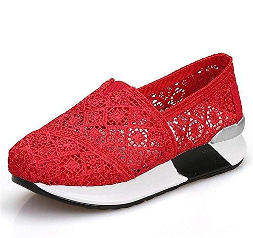Housses 1 avec Net Sport Air Wedge Shoes Shoes xie Ladies Harnais Respirant Casual des 1822 Respirantes Course Chaussures Cushion Femmes de Shaking Women's de red Net Heels 6qn4RC