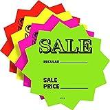 100 3'' SALE Price Signs Fluorescent Neon Die Cut Solar Star Burst Retail Cards 25 Each Color, 1 Pack
