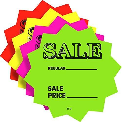 "100 3"" Sale Price Signs Fluorescent Neon Die Cut Solar Star Burst Retail Cards 25 Each Color, 1 Pack 51ueWz0Z1VL"