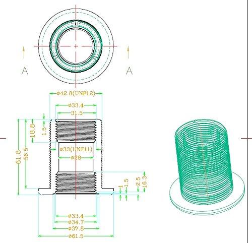 1'' Bulkhead ABS Threaded x Threaded NPT Standard 2-Pair (4-Pack) NBR Rubber Gasket by Bubblefin (Image #3)