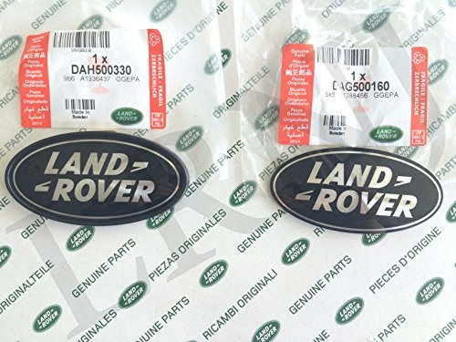 about LAND ROVER OVAL BADGES BLACK ON SILVER -NEW GENUINE PARTS DAG500160 + DAH500330