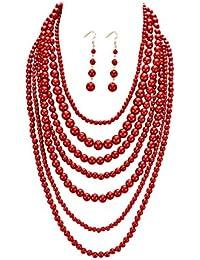 Women's Fashion Jewelry Set Beaded Multi Strand Bib Necklace