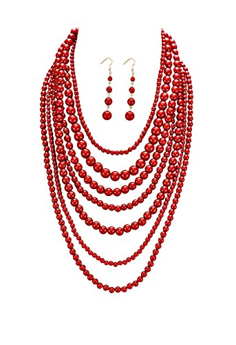 Rosemarie Collections Women's Fashion Jewelry Set Beaded Multi Strand Bib Necklace ()
