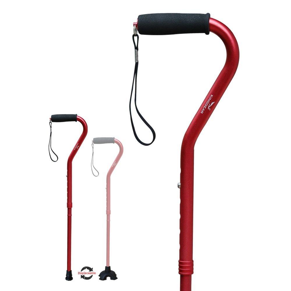 KingGear Adjustable Cane for Men & Women - Lightweight & Sturdy Offset Walking Stick - Mobility Aid for Elderly, Seniors & Handicap (Red)