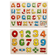 Yoyolala Wooden Peg Puzzles, Early Education Wood Puzzle Toy Kindergarten Teaching Toys (Set of 2)–Numbers and Alphabet