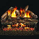 Peterson Real Fyre 18-inch Charred Red Oak Log Set With Vented Natural Gas Ansi Certified G46 Burner - Variable Flame Remote