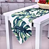 SevenFish Hawaiian Style Table Runner Palm leaves Printed Cotton Table Lines for Hawaiian Party Table Decorations, 12 x 87 inch