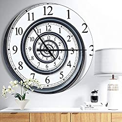 Designart 'Time Spiral Analog Wall' Oversized Contemporary Metal Clock - 38 in. Wide x 38 in. high