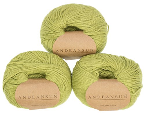 100% Baby Alpaca Yarn (Weight #3) DK - Set of 3 - AndeanSun - Luxuriously Soft for Knitting, Crocheting - Great for Baby Garments, Scarves, Hats, and Craft Projects -(Pistachio Green) ()