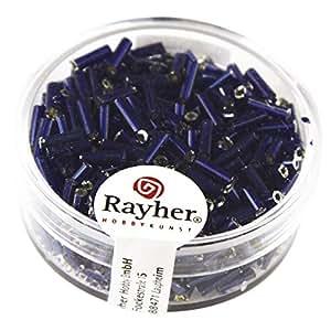Rocaille tubo de relleno, color plateado y azul oscuro g-Rayher 15