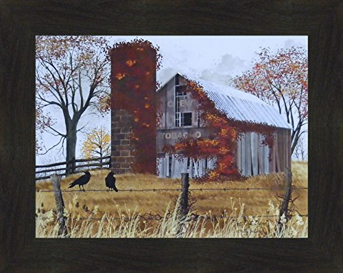 y Jacobs 16x20 Weathered Barn Silo Country Landscape Primitive Folk Art Print Wall Décor Framed Picture (2