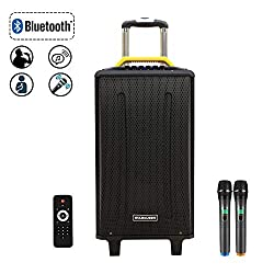 STARQUEEN 10Inch Pa System,Karaoke Machine for Party,DJ and Outdoor Activities,Rechargeable Party Speaker with 2 UHF Wireless Microphones