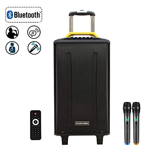 STARQUEEN 10Inch Pa System,Karaoke Machine for Party, DJ and Outdoor Activities,Rechargeable Party Speaker with 2 UHF Wireless Microphones and Remote Control, AUX/USB/SD/Guitar Input
