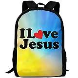 I Love Jesus Unique Outdoor Shoulders Bag Fabric Backpack Multipurpose Daypacks For Adult