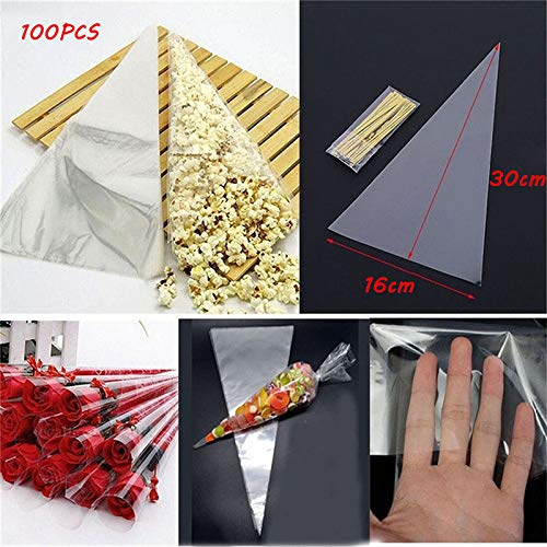 Sala Houseware - 100PCS/Bag Clear Cellophane Packing Bag With Twist Ties Party Gift Chocolate Sweet Popcorn Halloween Christmas Candy Transparent