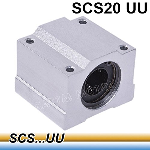 4 pcs SCS20UU 20mm Linear Motion Ball Bearing Pillow Block Closed Linear Bearing Slide Block Slide Bushing for 20mm Round Shaft Rod (SCS20UU) ()