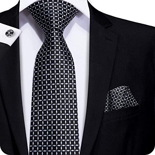 Hi-Tie Men Black White Check Plaid Tie Necktie with Cufflinks and Pocket Square Tie Set