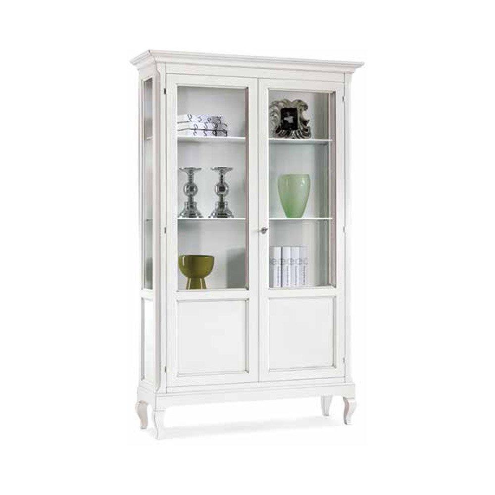 vitrinenschrank mit 2 t ren stil klassisch aus massivholz u mdf ausf hrung wei matt ma e. Black Bedroom Furniture Sets. Home Design Ideas