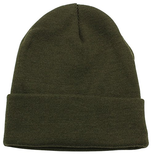Top Level Unisex Cuffed Plain Skull Beanie Toboggan Knit Hat/Cap, Olive