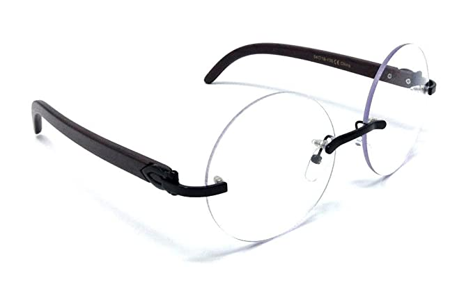 fc4b69aa43 Diplomat Rimless Round Metal   Wood Eyeglasses Clear Lens Sunglasses -  Frames (Black