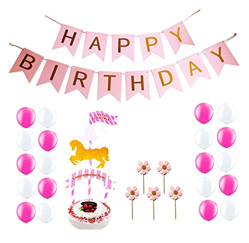 "Elecrainbow ""Happy Birthday"" Party Decorations for 1-16 Years Old Girl, Pink Happy Birthday Banner, Merry-Go-Round and Pink Flowers Cake Toppers, 20 pcs Shining Balloons for Birthday Party - Costume Party Theme Letter P"